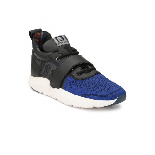 Eego Italy Men Blue Woven Design Synthetic High-Top Sneakers