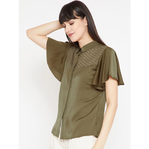 RARE Women Olive Green Self Design Shirt Style Top
