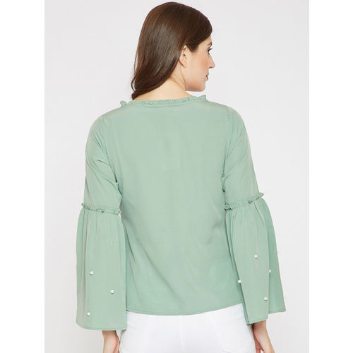 RARE Women Green Solid Top