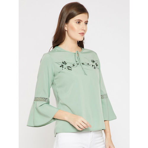 RARE Women Teal Solid Top