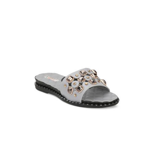 Zachho Women Grey Rubber Slip-on Falt Flip Flops