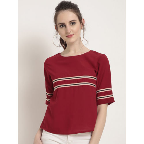 RARE Women Red Striped Top