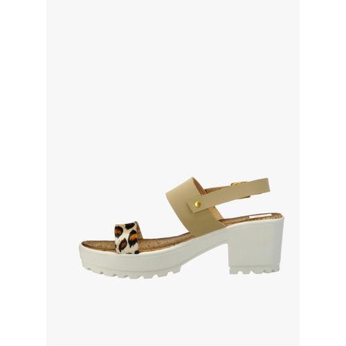 Zachho Beige Printed Sandals