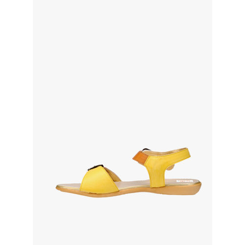 Zachho Yellow Solid Open Toe Flats