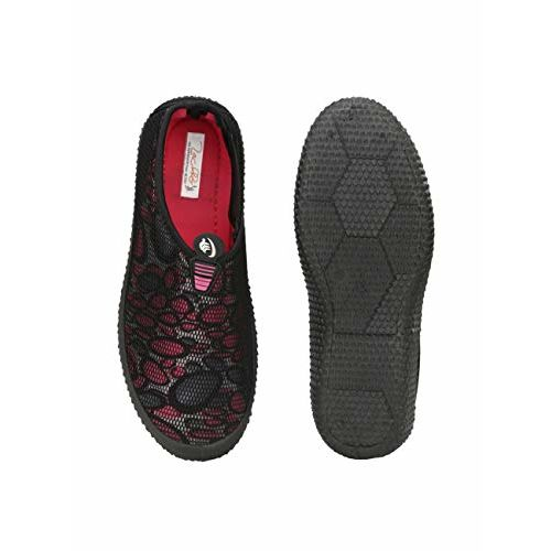 Zachho Black and Pink Imported Fabric with Net, Rubber Flat Attractive & Elegant Slip On Casual Shoes