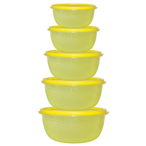 Princeware Plastic Bowl Package Container, Yellow, Set of 5