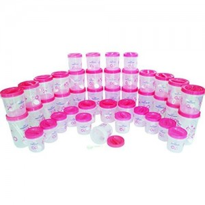 Princeware Twister Plastic Container Set with Spoon Set, 42-Pieces, Pink