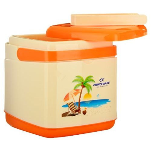 Princeware Plastic Insulated Ice Pail Bucket, 1.8 Liters, Beige and Orange