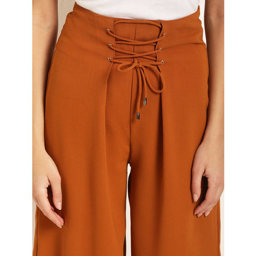 RARE Women Mustard Yellow Original Regular Fit Solid Parallel Trousers