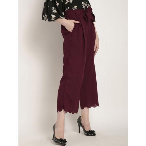 RARE Women Maroon Regular Fit Solid Culottes