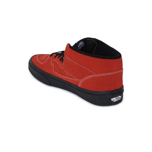 Vans Unisex Brown Solid Leather Mid-Top Sneakers