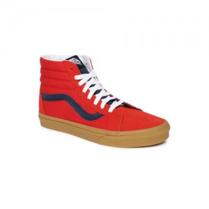 Vans Unisex Red Solid Leather Mid-Top Sneakers