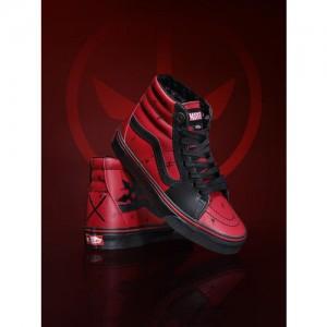 Vans Unisex Maroon & Black Marvel Deadpool Mid-Top Leather Sneakers