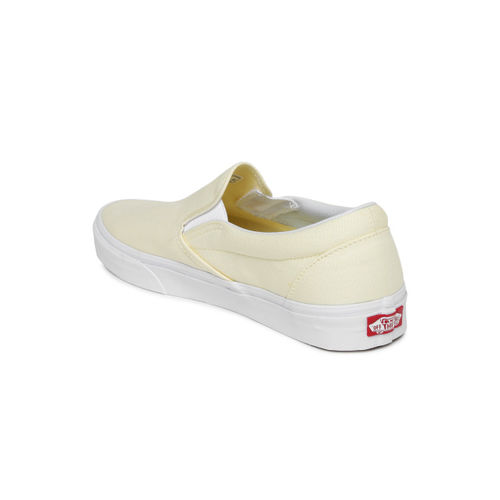 Vans Unisex Cream-Coloured Solid Classic Slip-On Sneakers