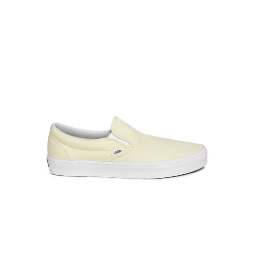 Vans Unisex Cream-Coloured Solid Classic Slip-On Sneakers