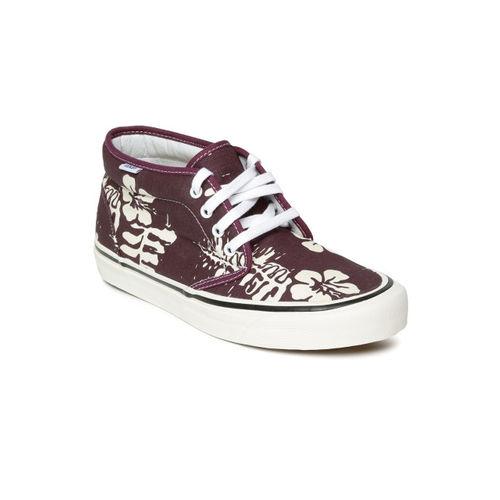 Vans Unisex Purple Floral Print Mid-Top Sneakers