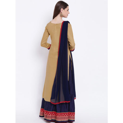 Kvsfab Beige & Navy Blue Cotton Blend Semi-Stitched Dress Material