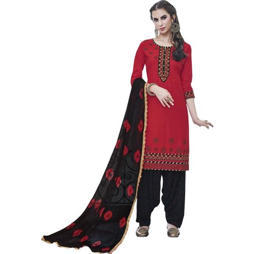 a5f5260576 Buy Kvsfab Women'S Red Embroidered Cotton Salwar Suit Material (Unstitched)  online | Looksgud.in