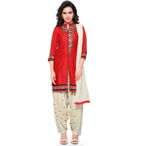 Kvsfab Women's Cotton Patiala Salwar Suit Dress Material (KVSSK6208FOP_10, Red and Beige, Free Size)