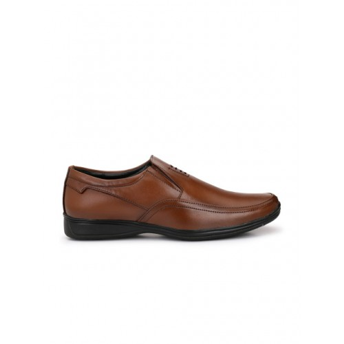 Eego Italy Men Brown Formal Leather Slip-Ons