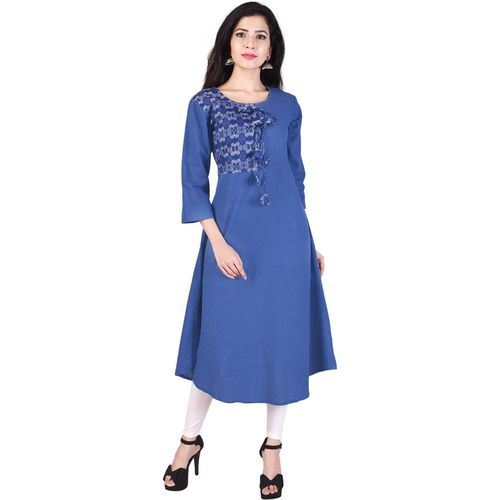Indiwest Blue Rayon Casual Solid Kurti