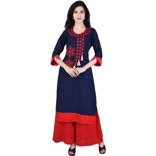 Indiwest Blue Rayon Casual Embroidered Kurti
