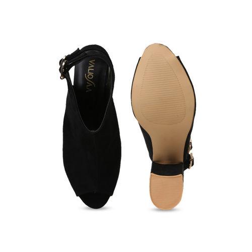 VALIOSAA Women Black Solid Suede Mules
