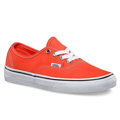Vans Unisex Authentic (Canvas) Cherry Tomato and True White Sneakers - 9 UK/India (43 EU)