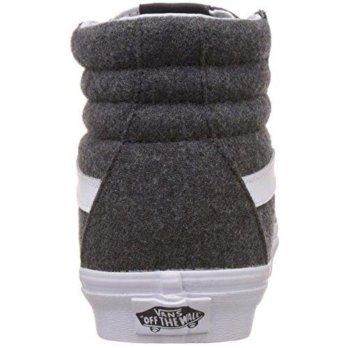 Vans Unisex SK8-Hi Reissue Varsity, Charcoal and True White Leather Sneakers - 8 UK/India (42 EU)