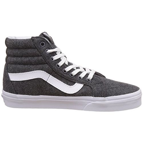 Vans Unisex SK8-Hi Reissue Varsity, Charcoal and True White Leather Sneakers - 8 UK/India (42 EU)