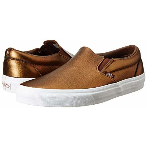 Vans Unisex Classic Slip-On (Metallic Leather) Saddle Brown Leather Loafers and Moccasins - 5 UK/India (38 EU)