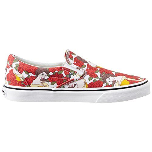 Vans Unisex Classic Slip-On (Disney) Belle and Truewhite Canvas Loafers and Moccasins - 8 UK