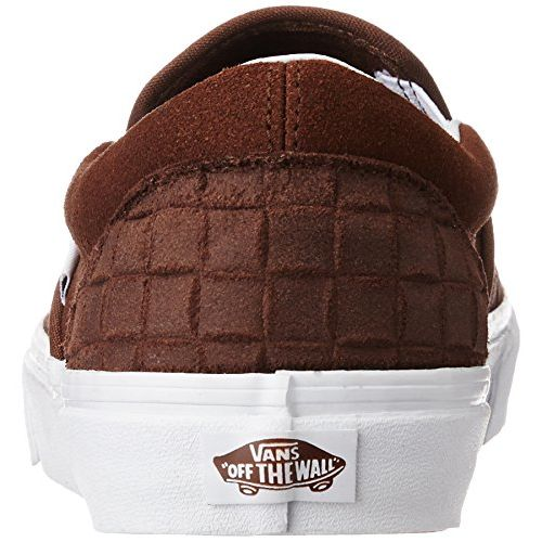 Vans Unisex Classic Slip-On Suede Checkers and Chestnut Leather Loafers and Moccasins - 7 UK/India (40.5 EU)