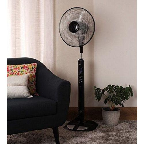 Usha Aerolux 400mm 53-Watt Pedestal Fan with Remote - Seguro (Black)