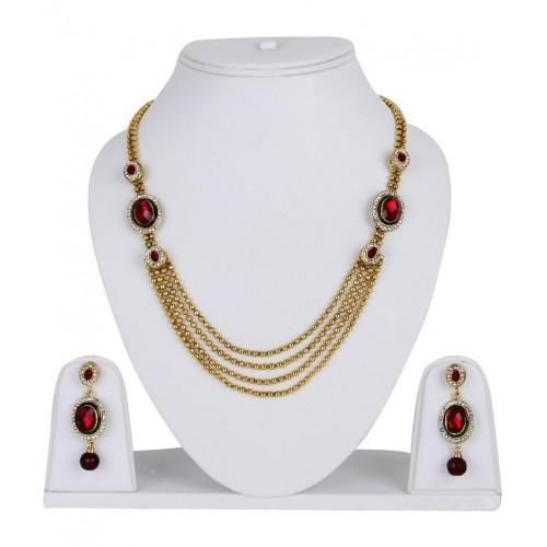 Shining Diva Red & Golden Multi Strings Haar Style Necklace Set