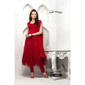 Thankar Red Designer Anarkali Suits