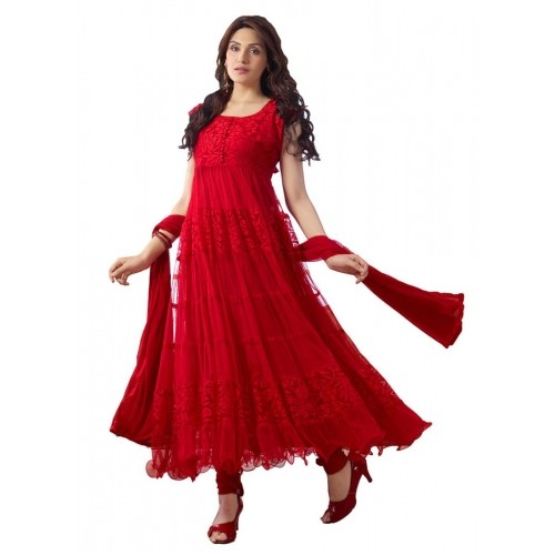 Thankar Red Designer Anarkali Suits