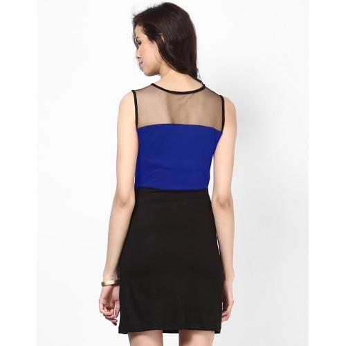Besiva Black & Blue Viscose Sleeveless Sheath Dress