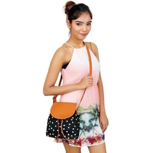 Lychee Bags Black & Tan Polyurethane Sling Bag