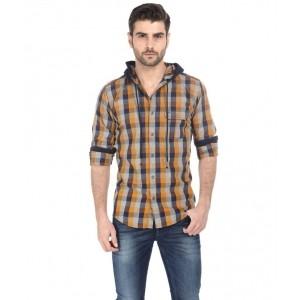 Basics Orange and Navy Cotton Hooded Shirt