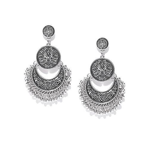 YouBella Fashion Jewellery Afghani Tribal Oxidised Dangler Stylish Fancy Party Wear Earrings for Women (Silver)