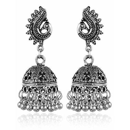 YouBella Fancy Party Wear Jewellery Afghani Oxidized Silver Jhumka Earrings Girls and Women