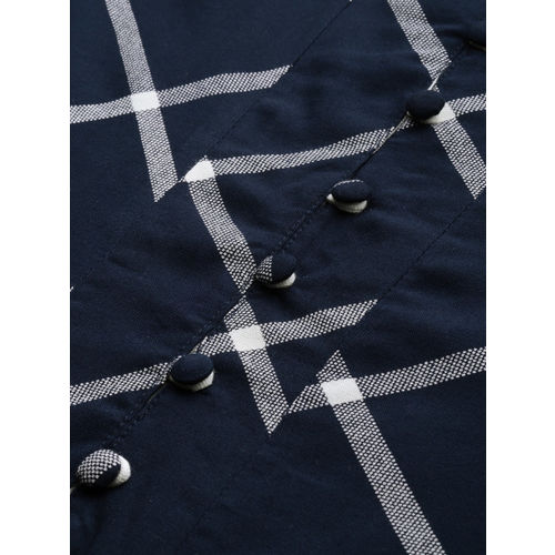 IMARA Women Navy Blue Printed A-Line Kurta