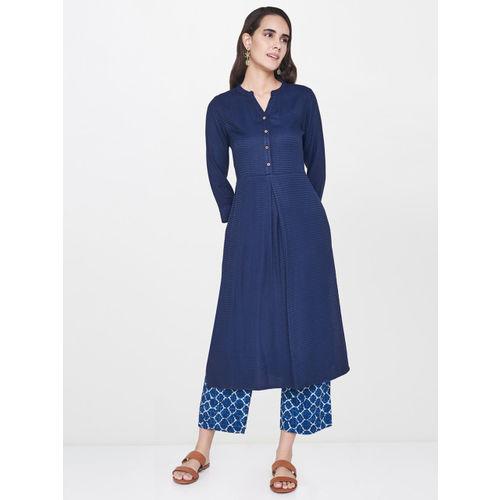 Global Desi Women Navy Blue Self-Design Straight Kurta