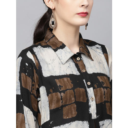 Ives Women Navy Blue & Off-White Checked A-Line Kurta