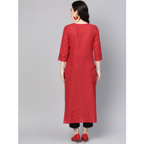 Varanga Women Red Handloom Straight Kurta