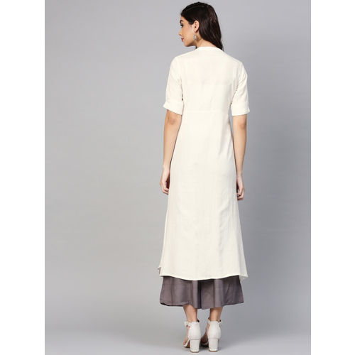 Varanga Women White Yoke Design A-Line Kurta