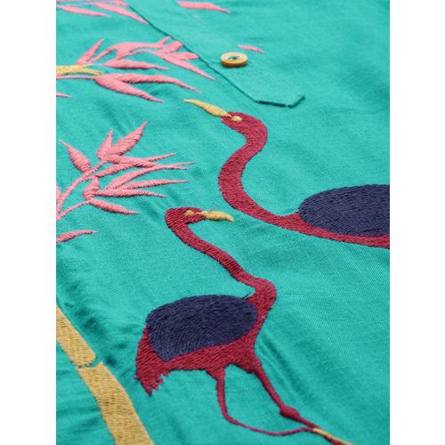 Alena Women Sea Green Embroidered Straight Kurta