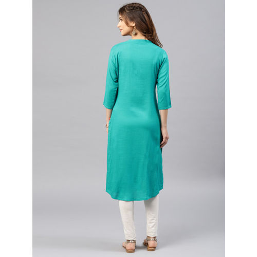 Alena Women Sea Green Embroidered Straight Kurta