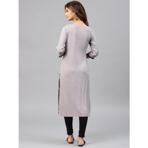 Alena Women Grey Printed Straight Kurta